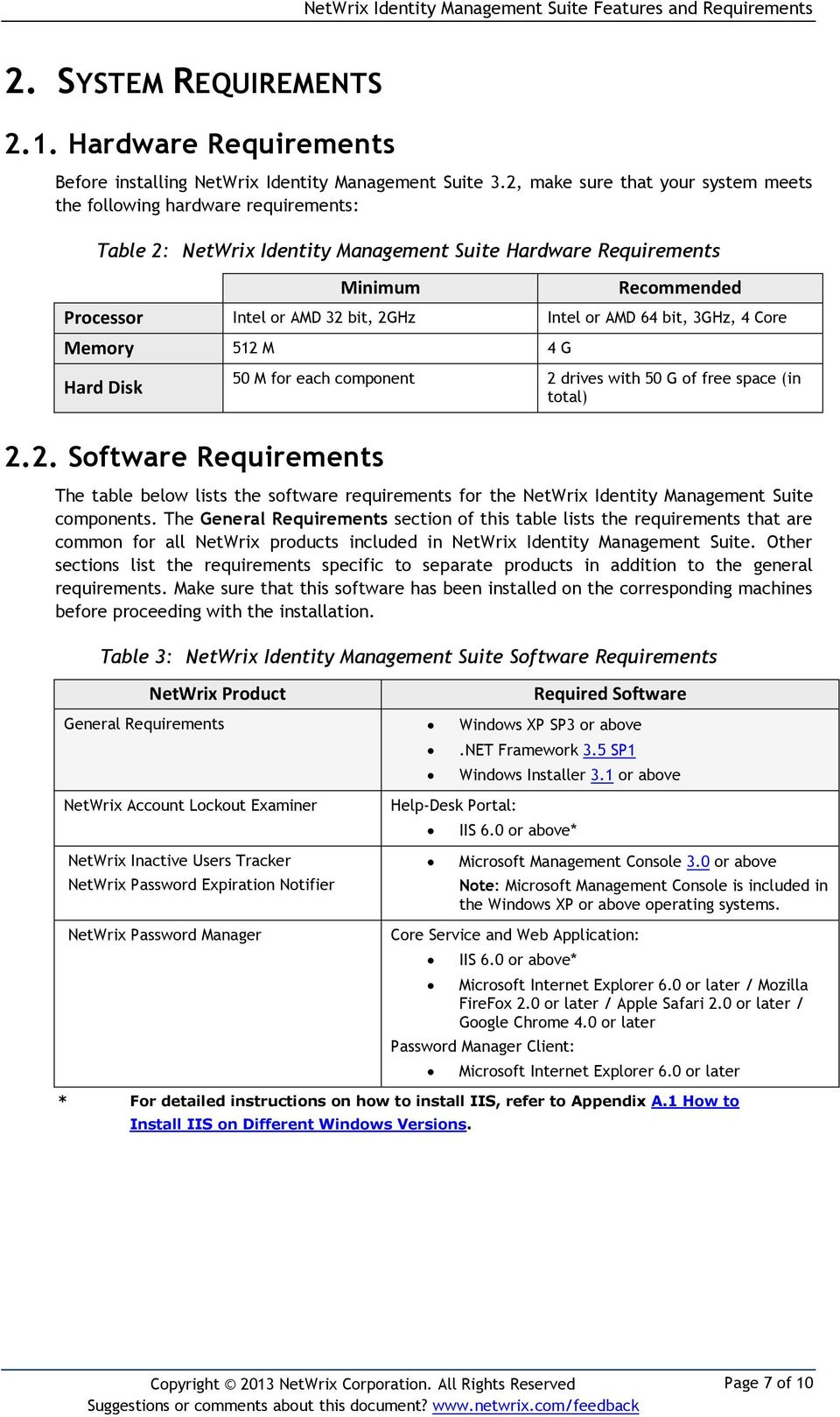 or AMD 64 bit, 3GHz, 4 Core Memory 512 M 4 G Hard Disk 50 M for each component 2 drives with 50 G of free space (in total) 2.2. Software Requirements The table below lists the software requirements for the NetWrix Identity Management Suite components.