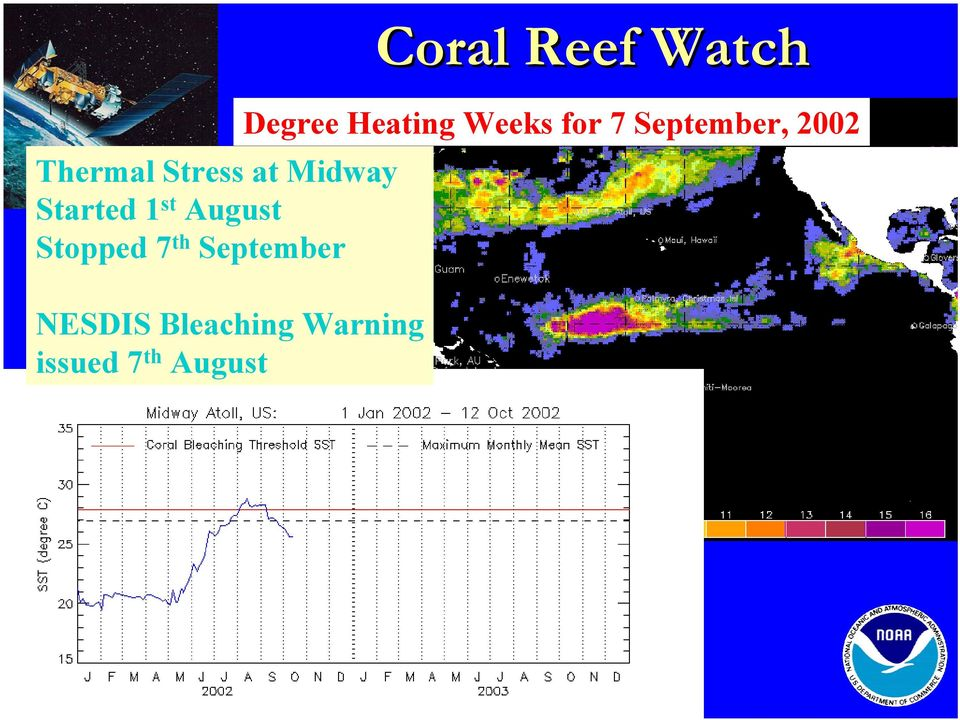 Warning issued 7 HotSpots th August Coral