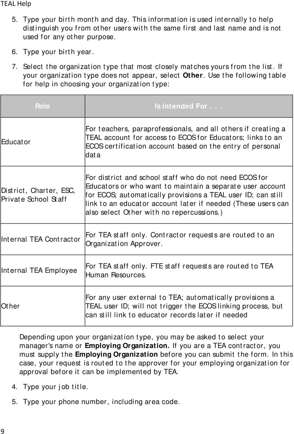 Use the following table for help in choosing your organization type: Role Is intended For.