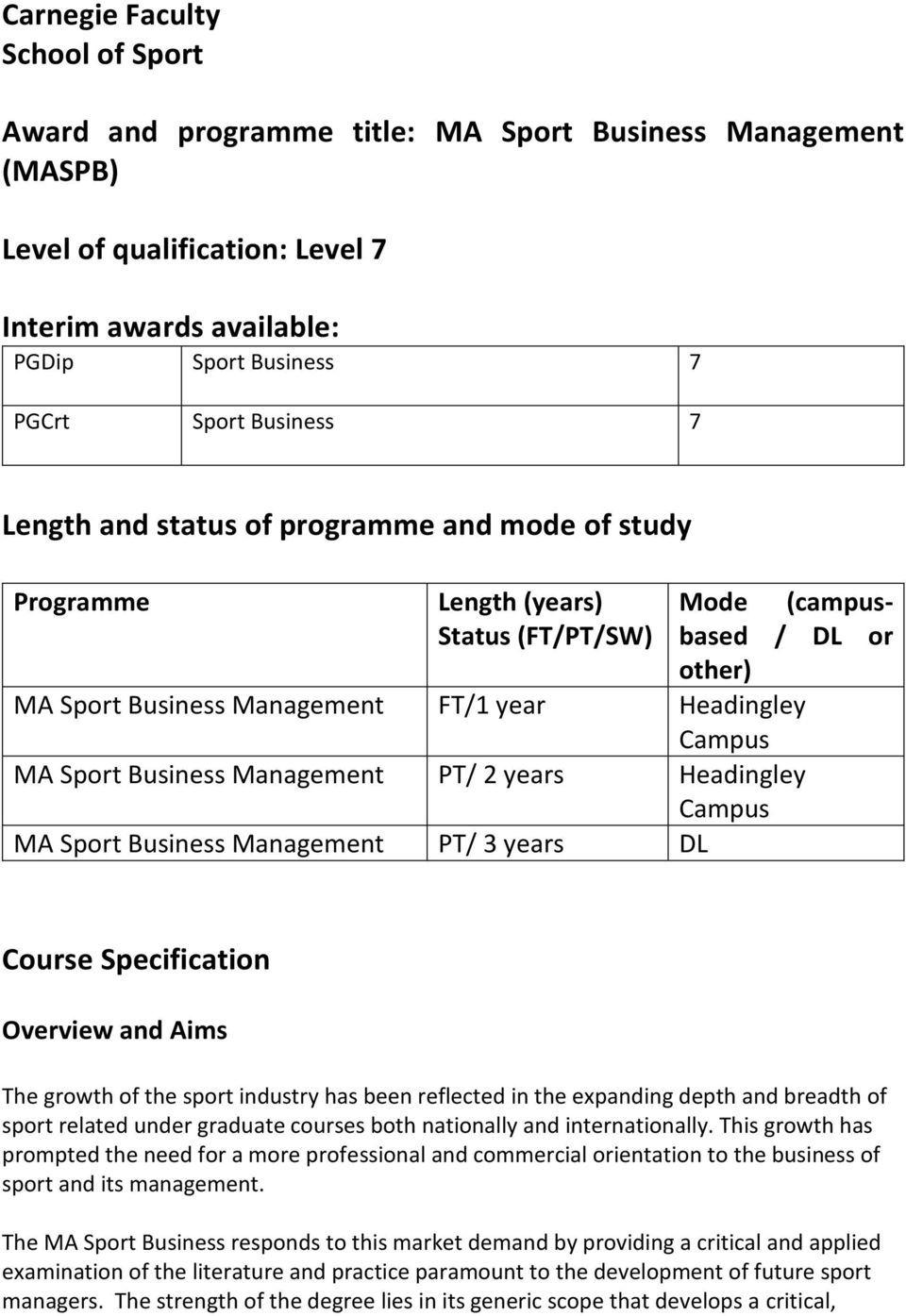 Business Management PT/ 2 years Headingley Campus MA Sport Business Management PT/ 3 years DL Course Specification Overview and Aims The growth of the sport industry has been reflected in the