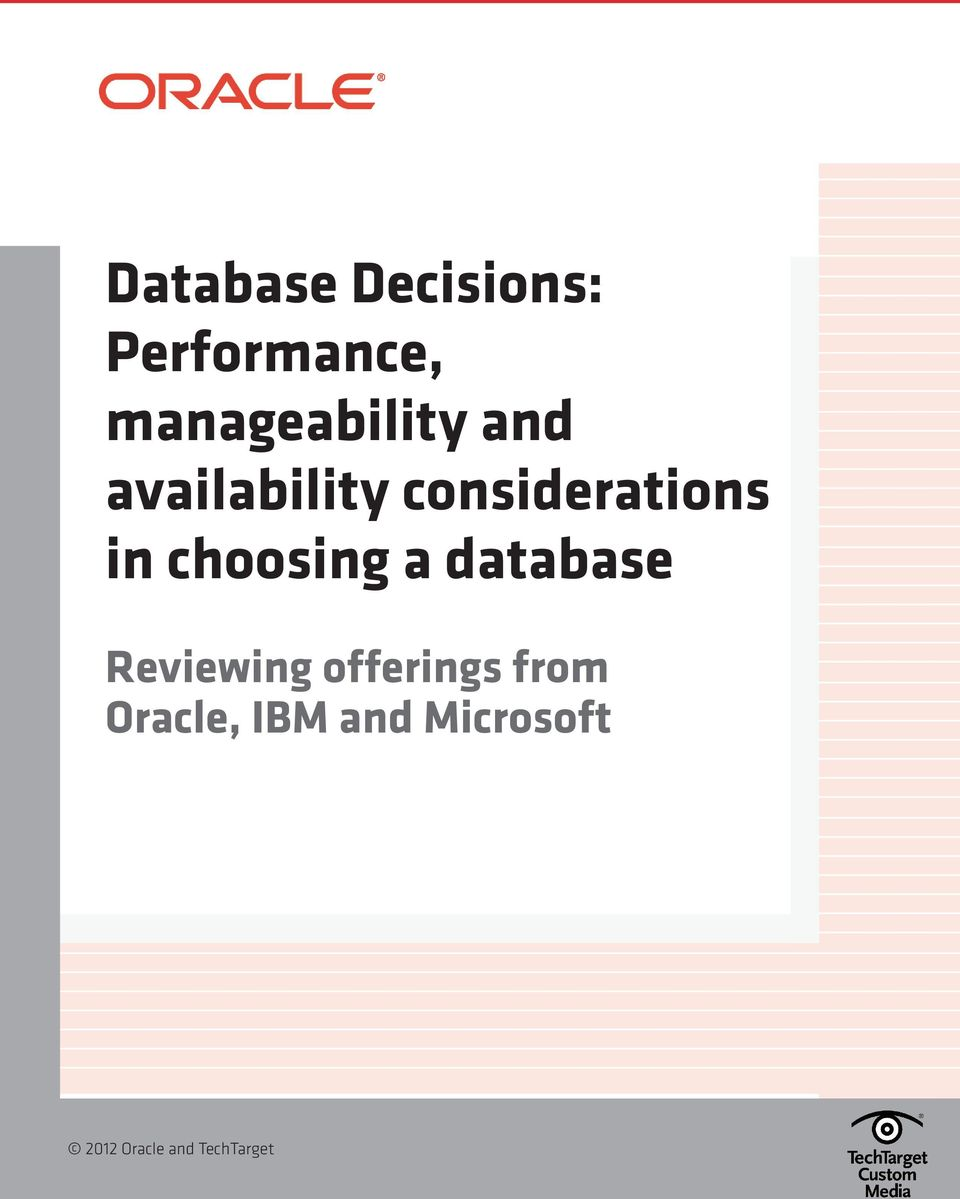 considerations in choosing a database