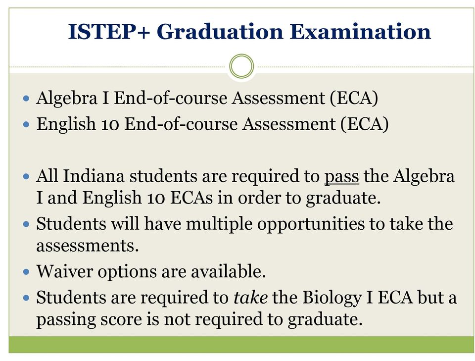 order to graduate. Students will have multiple opportunities to take the assessments.