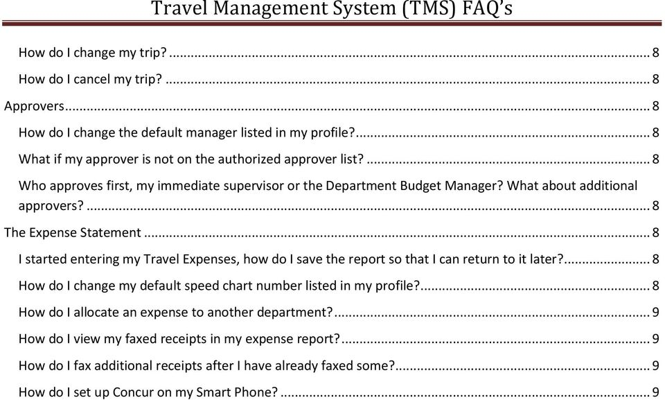 ... 8 The Expense Statement... 8 I started entering my Travel Expenses, how do I save the report so that I can return to it later?