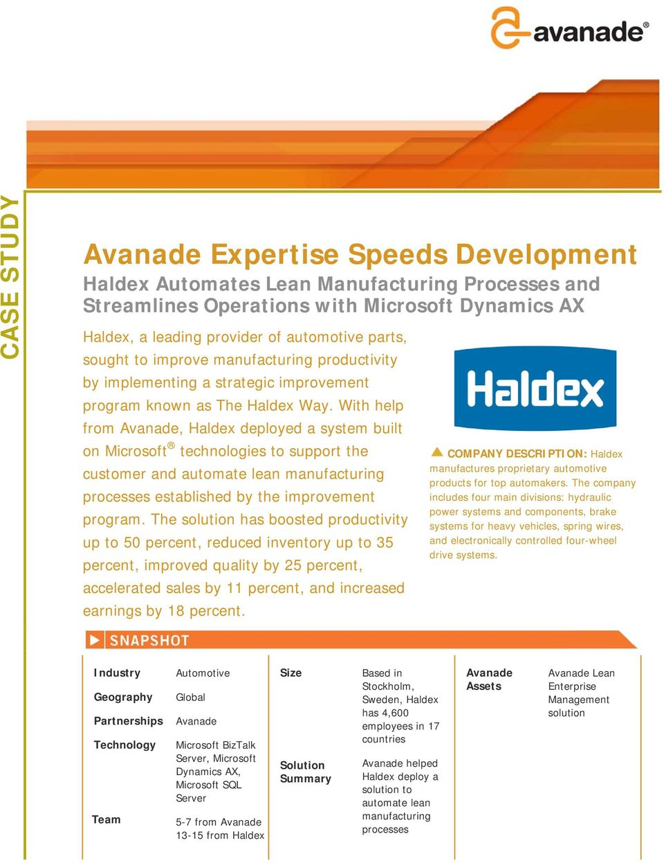 With help from Avanade, Haldex deployed a system built on Microsoft technologies to support the customer and automate lean manufacturing processes established by the improvement program.