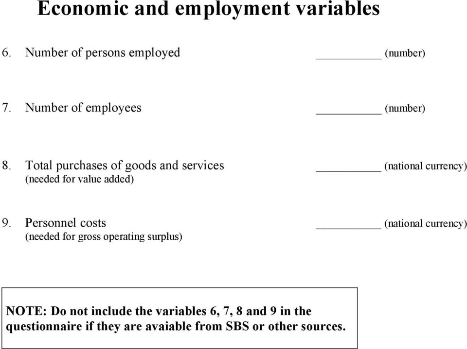 Total purchases of goods and services (needed for value added) 9.
