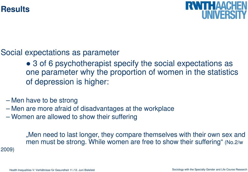 of disadvantages at the workplace Women are allowed to show their suffering 2009) Men need to last longer, they