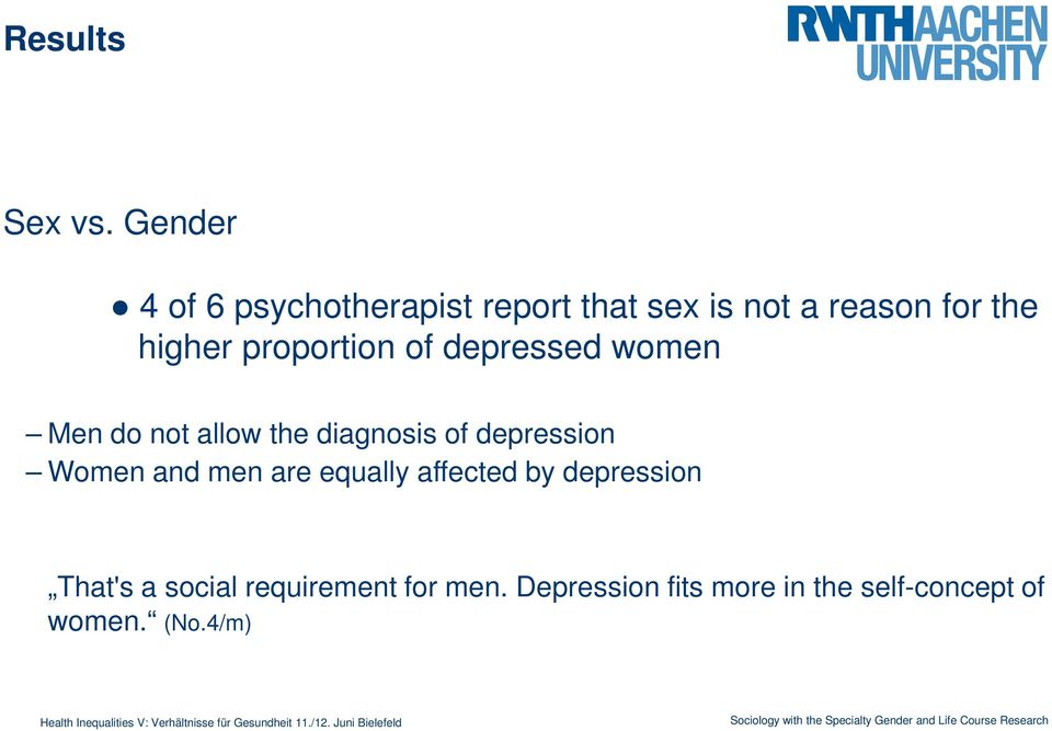proportion of depressed women Men do not allow the diagnosis of depression