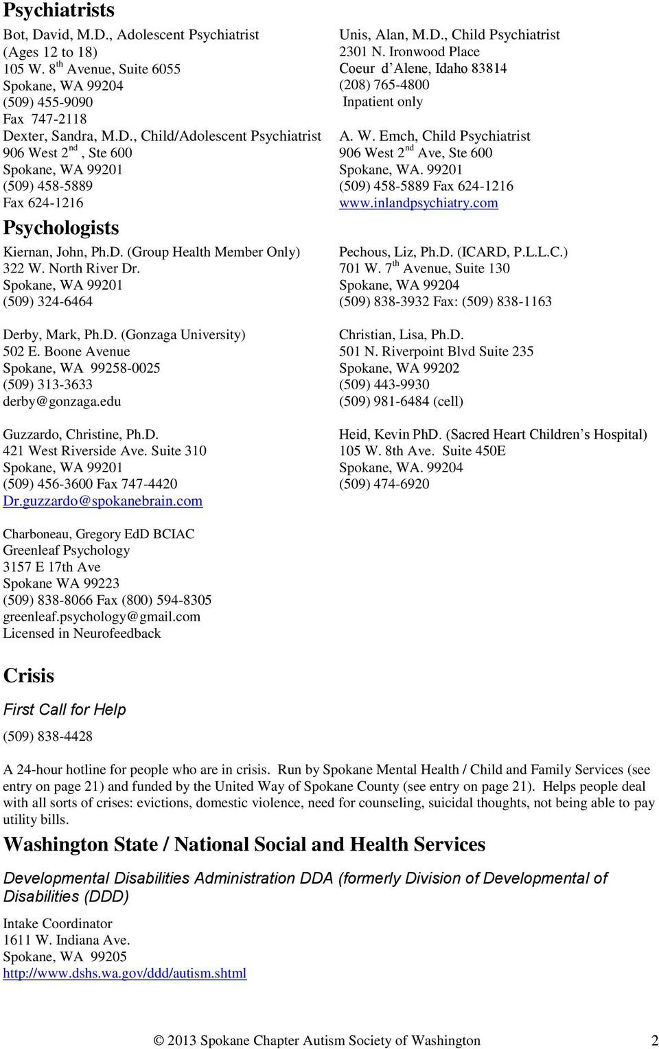 Autism Society Of Washington Spokane Chapter Resource Manual Pdf