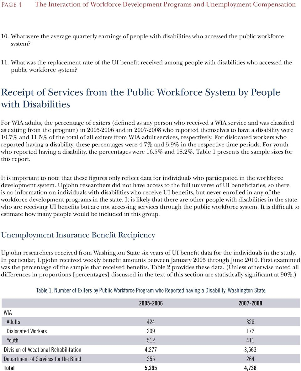 What was the replacement rate of the UI benefit received among people with disabilities who accessed the public workforce system?