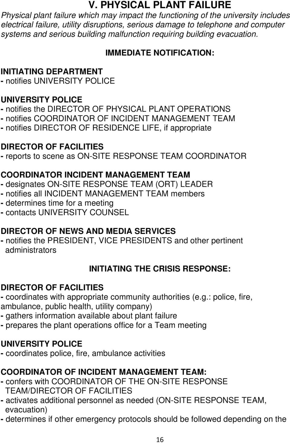 INITIATING DEPARTMENT - notifies UNIVERSITY POLICE IMMEDIATE NOTIFICATION: UNIVERSITY POLICE - notifies the DIRECTOR OF PHYSICAL PLANT OPERATIONS - notifies COORDINATOR OF - notifies DIRECTOR OF