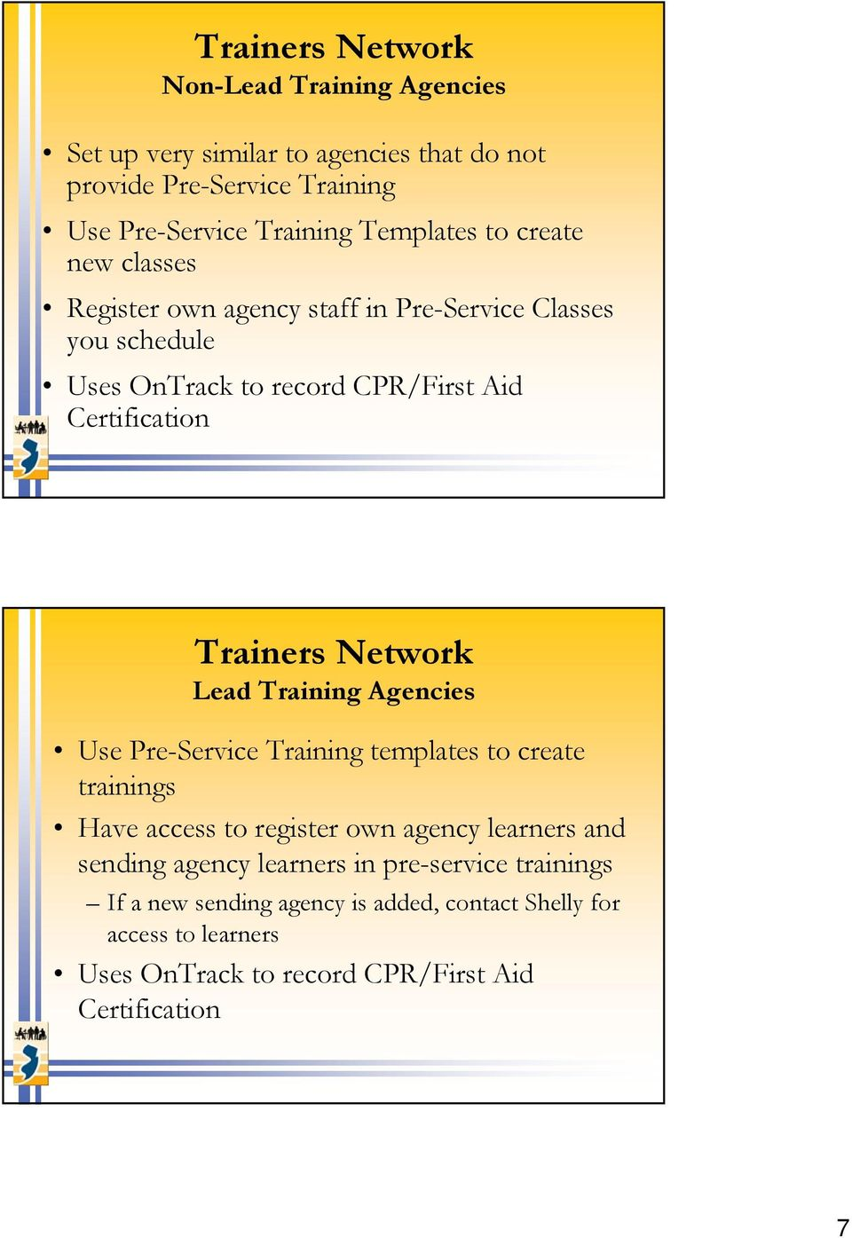 Trainers Network Lead Training Agencies Use Pre-Service Training templates to create trainings Have access to register own agency learners and sending