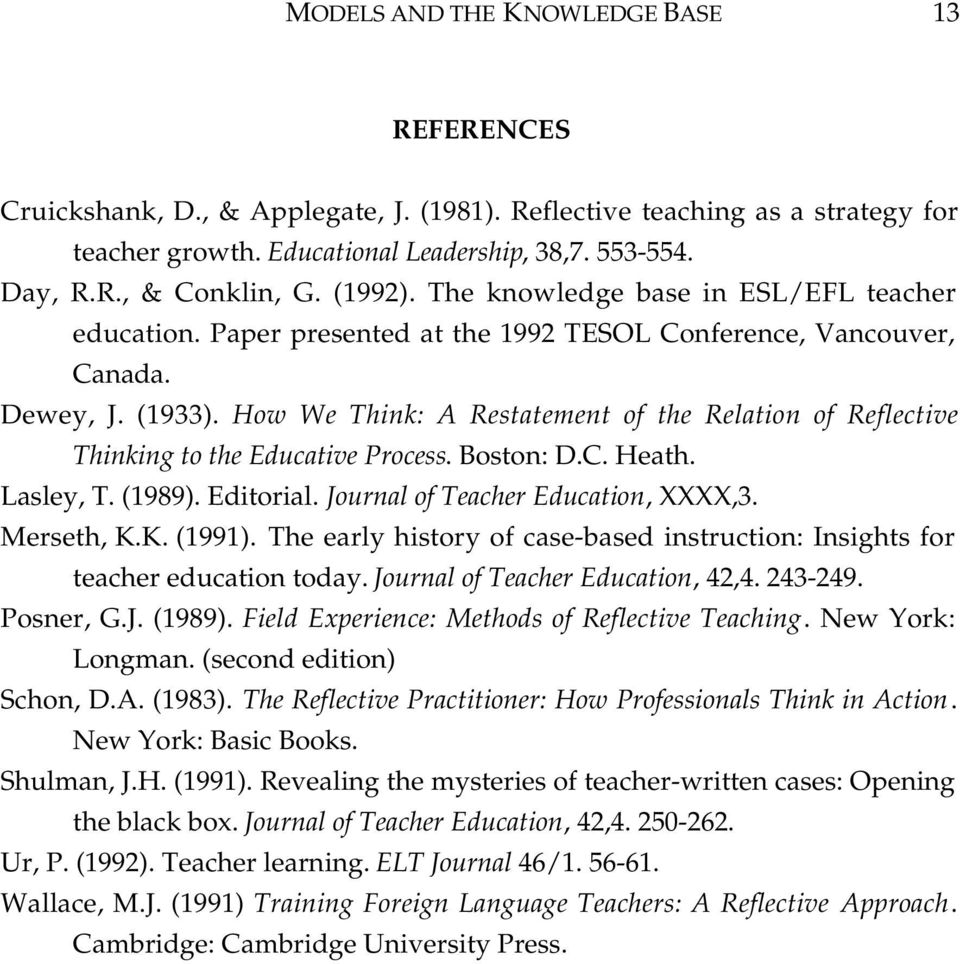 How We Think: A Restatement of the Relation of Reflective Thinking to the Educative Process. Boston: D.C. Heath. Lasley, T. (1989). Editorial. Journal of Teacher Education, XXXX,3. Merseth, K.K. (1991).