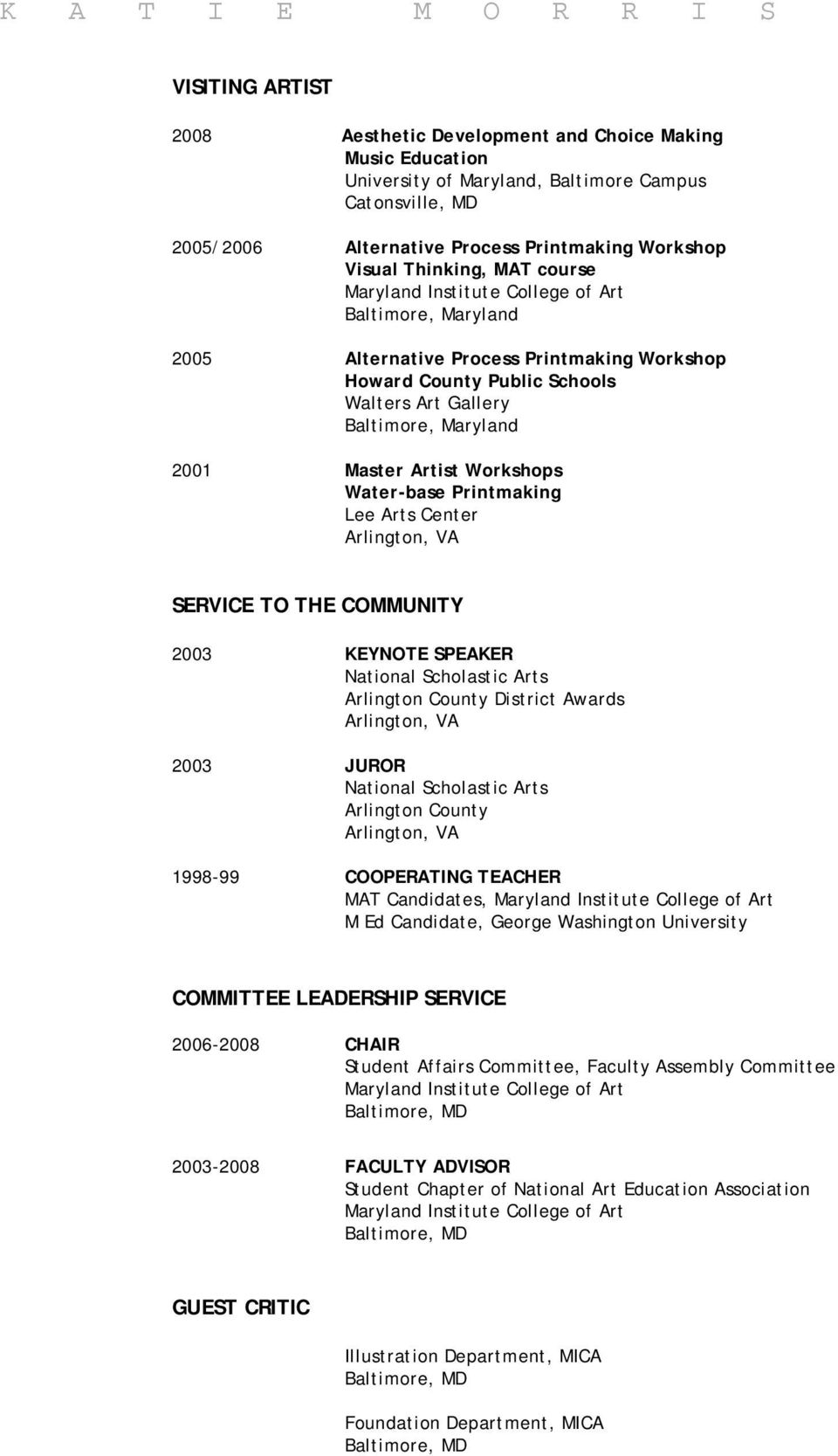 COMMUNITY 2003 KEYNOTE SPEAKER National Scholastic Arts Arlington County District Awards 2003 JUROR National Scholastic Arts Arlington County 1998-99 COOPERATING TEACHER MAT Candidates, M Ed