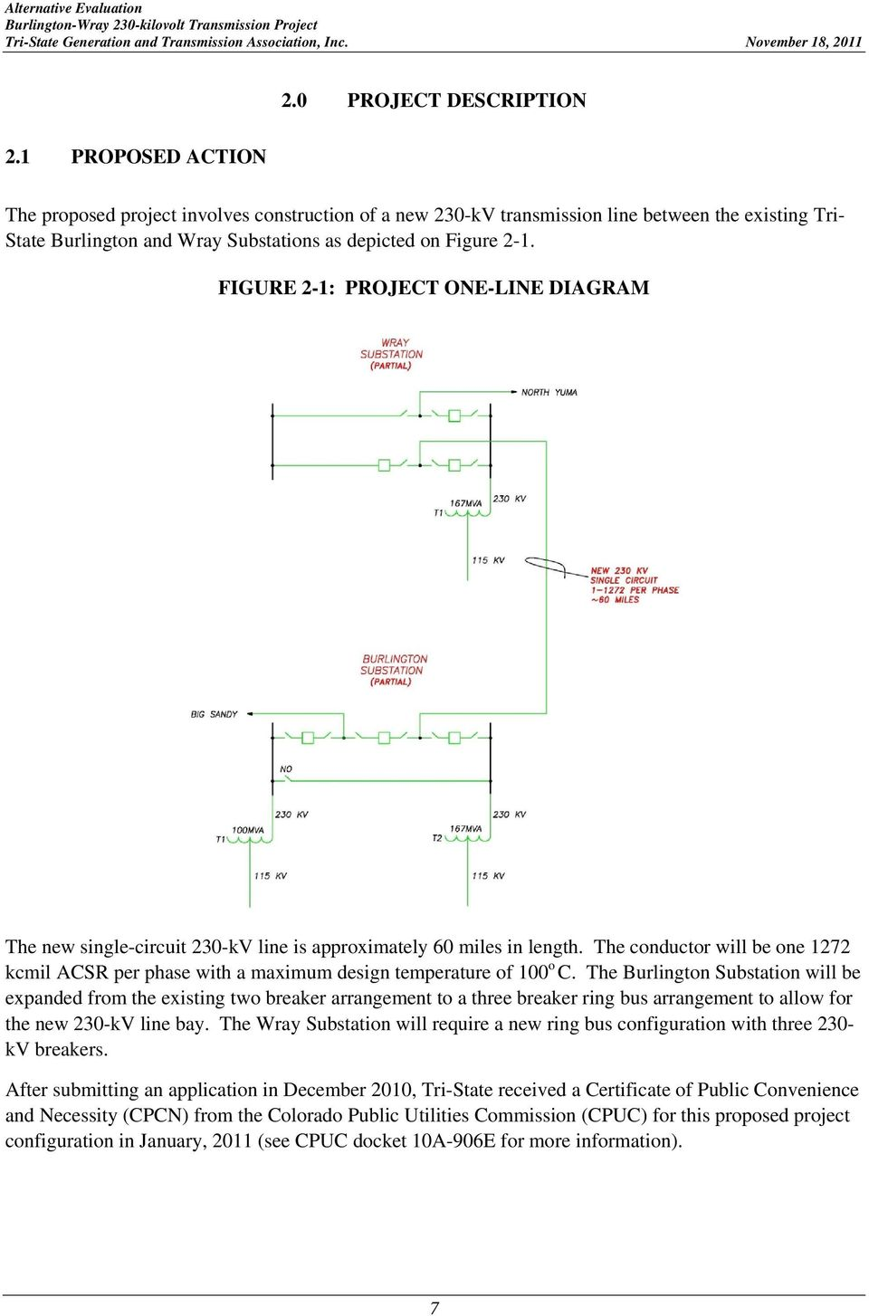 FIGURE 2-1: PROJECT ONE-LINE DIAGRAM The new single-circuit 230-kV line is approximately 60 miles in length.