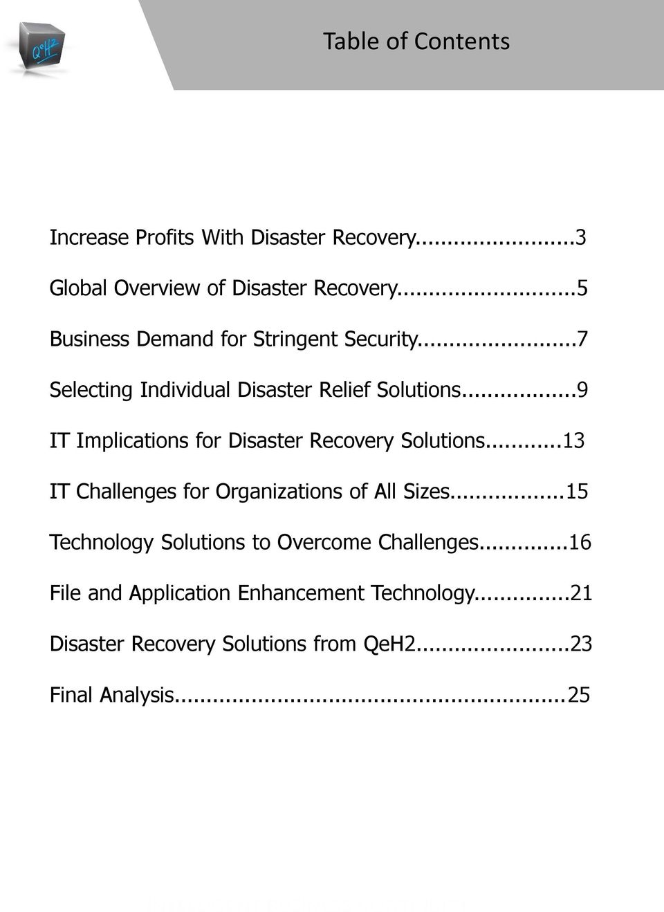 ..9 IT Implications for Disaster Recovery Solutions...13 IT Challenges for Organizations of All Sizes.