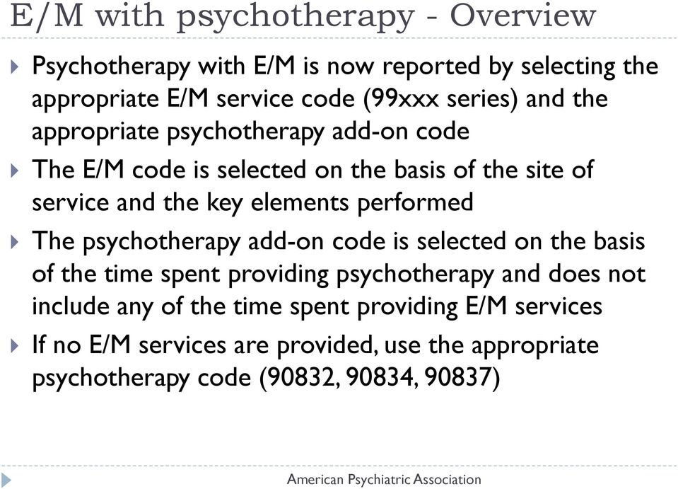 elements performed The psychotherapy add-on code is selected on the basis of the time spent providing psychotherapy and does not