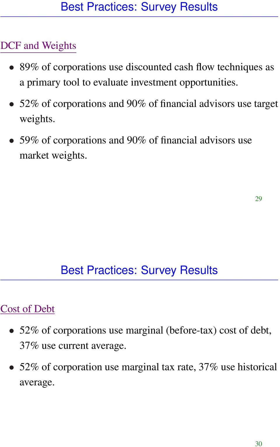 59% of corporations and 90% of financial advisors use market weights.