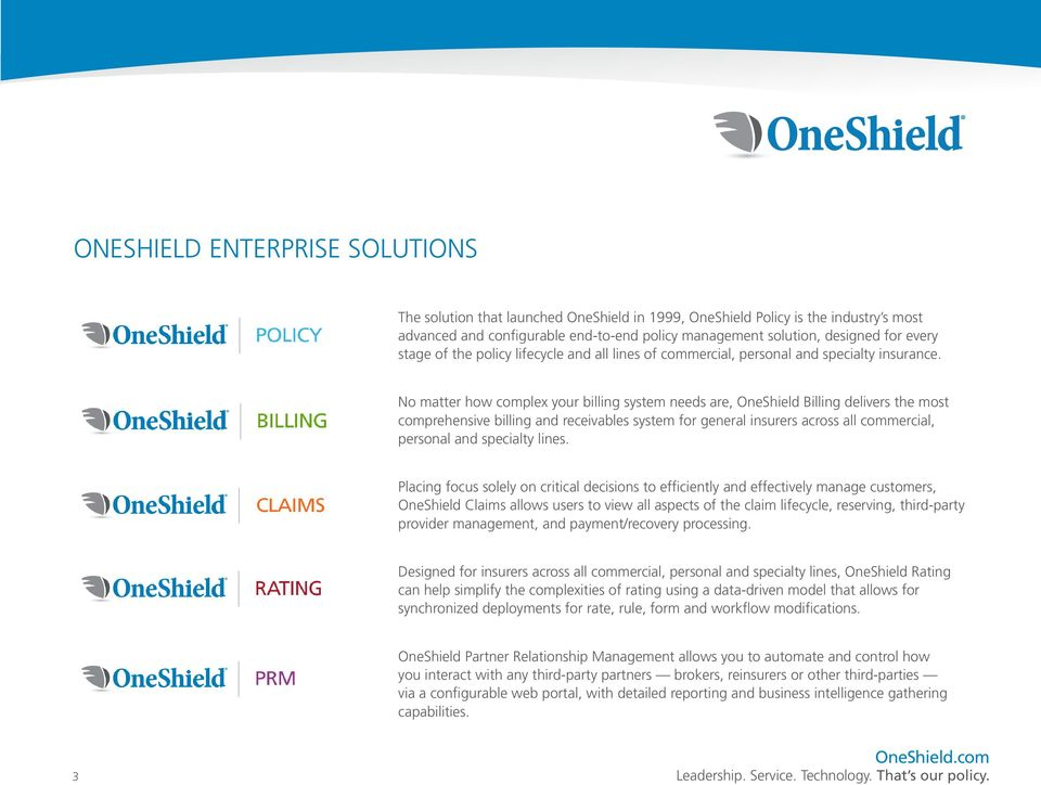 No matter how complex your billing system needs are, OneShield Billing delivers the most comprehensive billing and receivables system for general insurers across all commercial, personal and