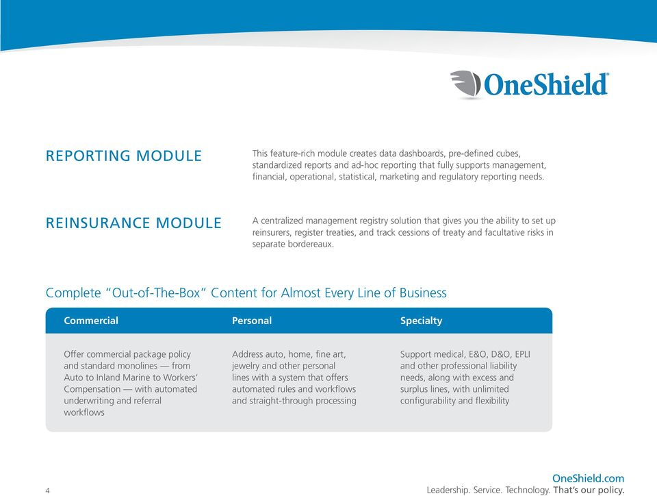 REINSURANCE MODULE A centralized management registry solution that gives you the ability to set up reinsurers, register treaties, and track cessions of treaty and facultative risks in separate