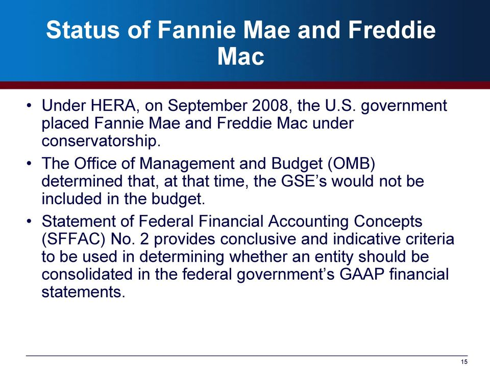 Statement of Federal Financial Accounting Concepts (SFFAC) No.