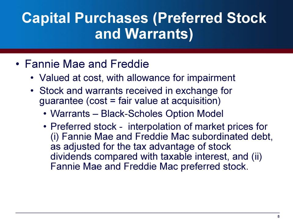 Model Preferred stock - interpolation of market prices for (i) Fannie Mae and Freddie Mac subordinated debt, as adjusted