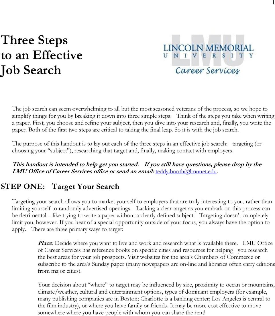 Both of the first two steps are critical to taking the final leap. So it is with the job search.