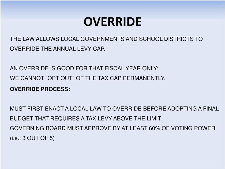 OVERRIDE PROCESS: MUST FIRST ENACT A LOCAL LAW TO OVERRIDE BEFORE ADOPTING A FINAL BUDGET THAT