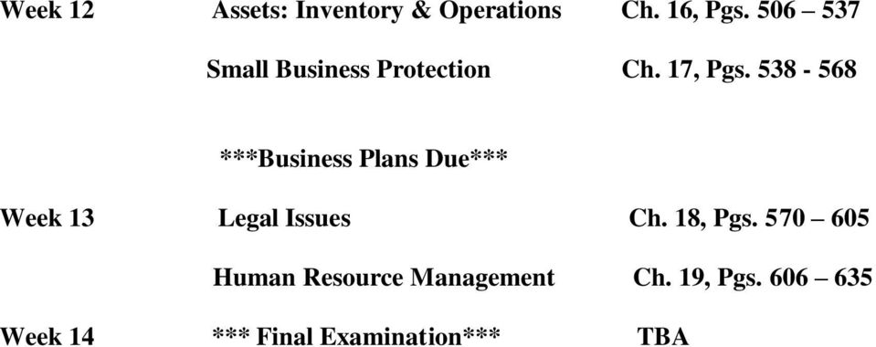 538-568 ***Business Plans Due*** Week 13 Legal Issues Ch.