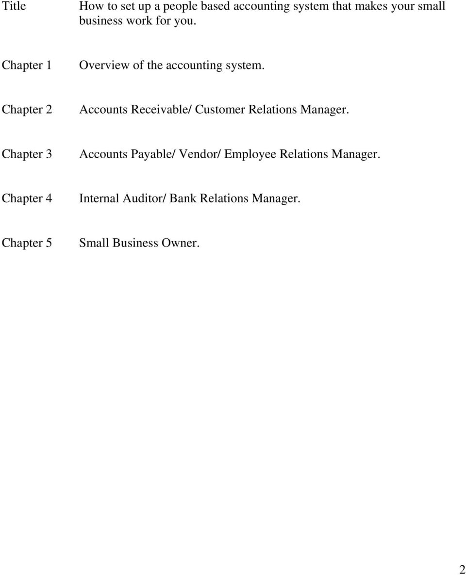 Chapter 2 Accounts Receivable/ Customer Relations Manager.
