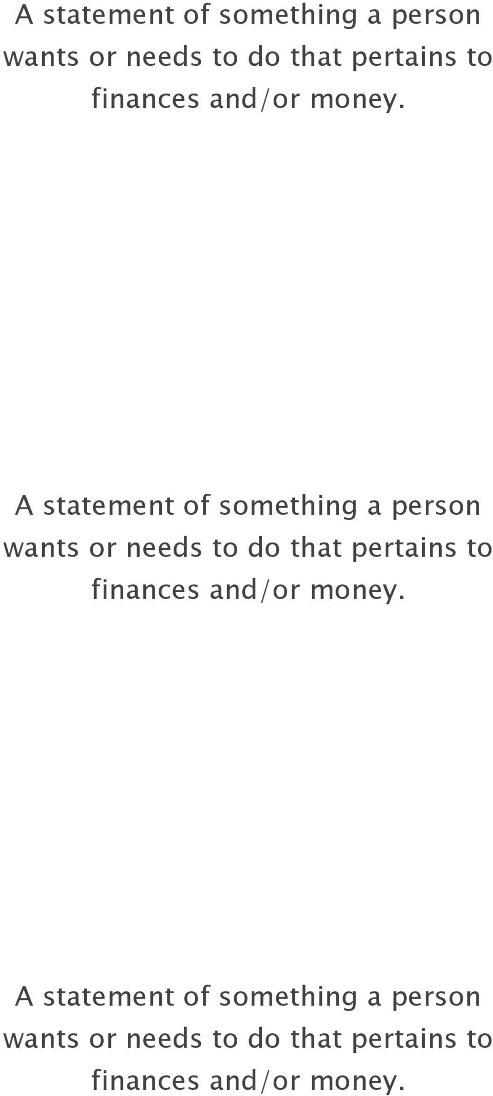 to finances and/or money.