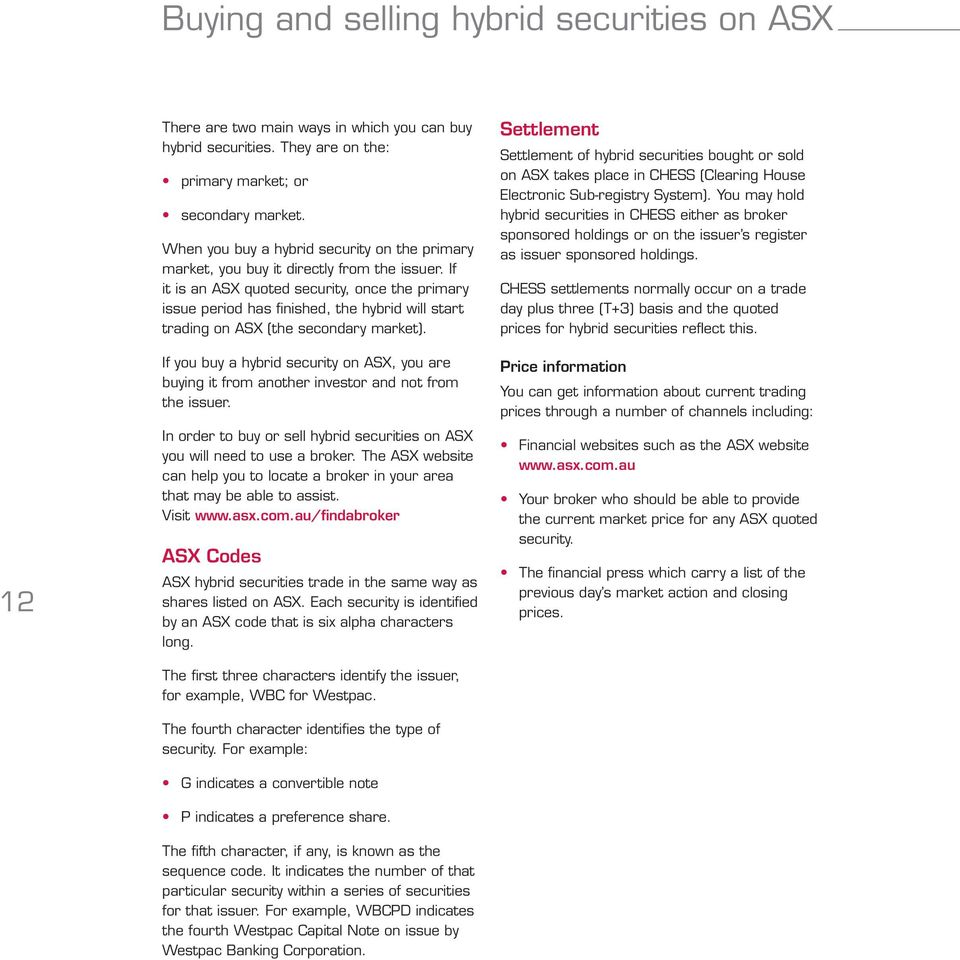 If it is an ASX quoted security, once the primary issue period has finished, the hybrid will start trading on ASX (the secondary market).