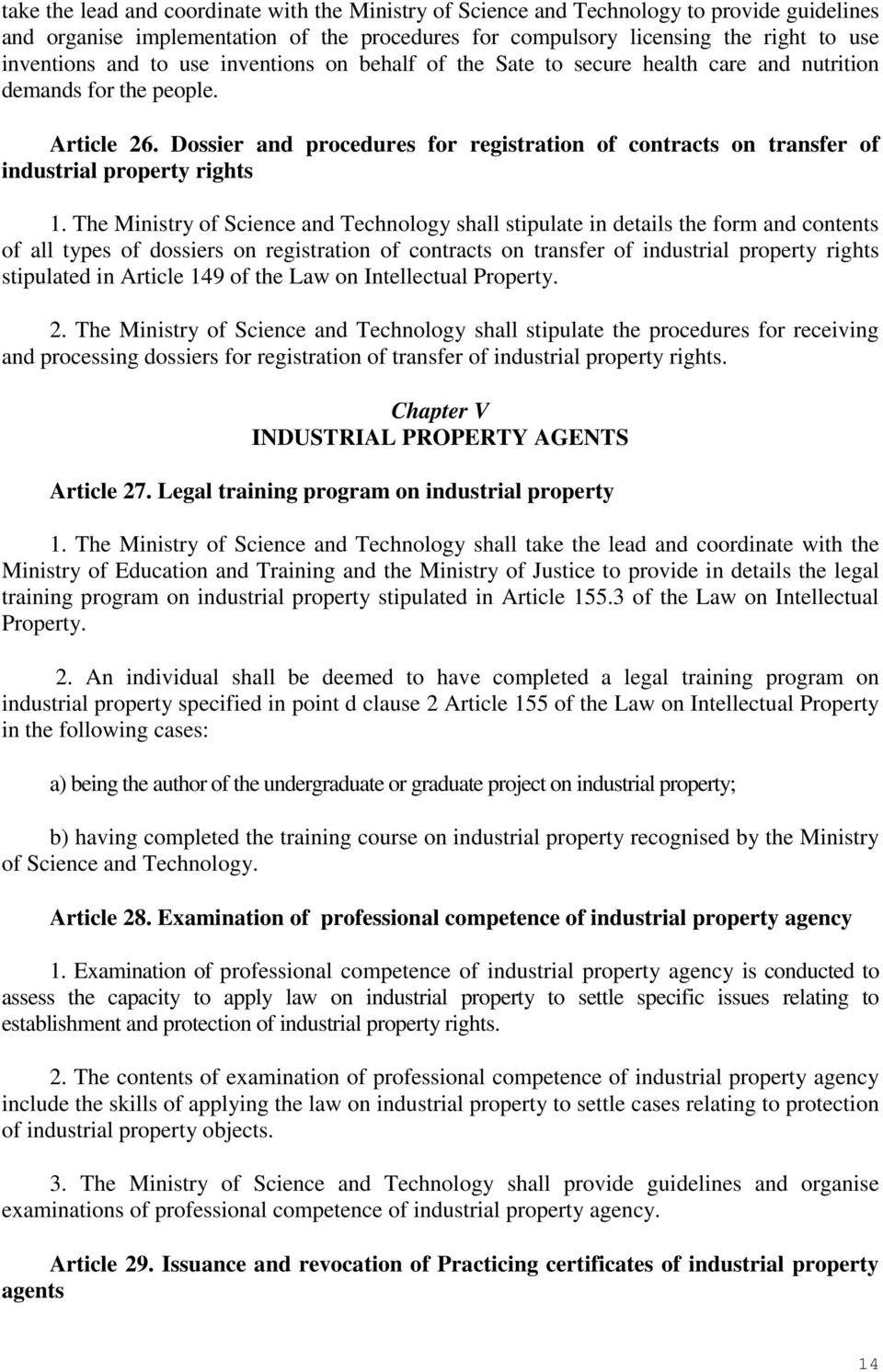 Dossier and procedures for registration of contracts on transfer of industrial property rights 1.