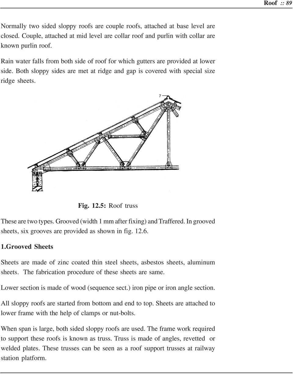 5: Roof truss These are two types. Grooved (width 1 mm after fixing) and Traffered. In grooved sheets, six grooves are provided as shown in fig. 12.6. 1.Grooved Sheets Sheets are made of zinc coated thin steel sheets, asbestos sheets, aluminum sheets.