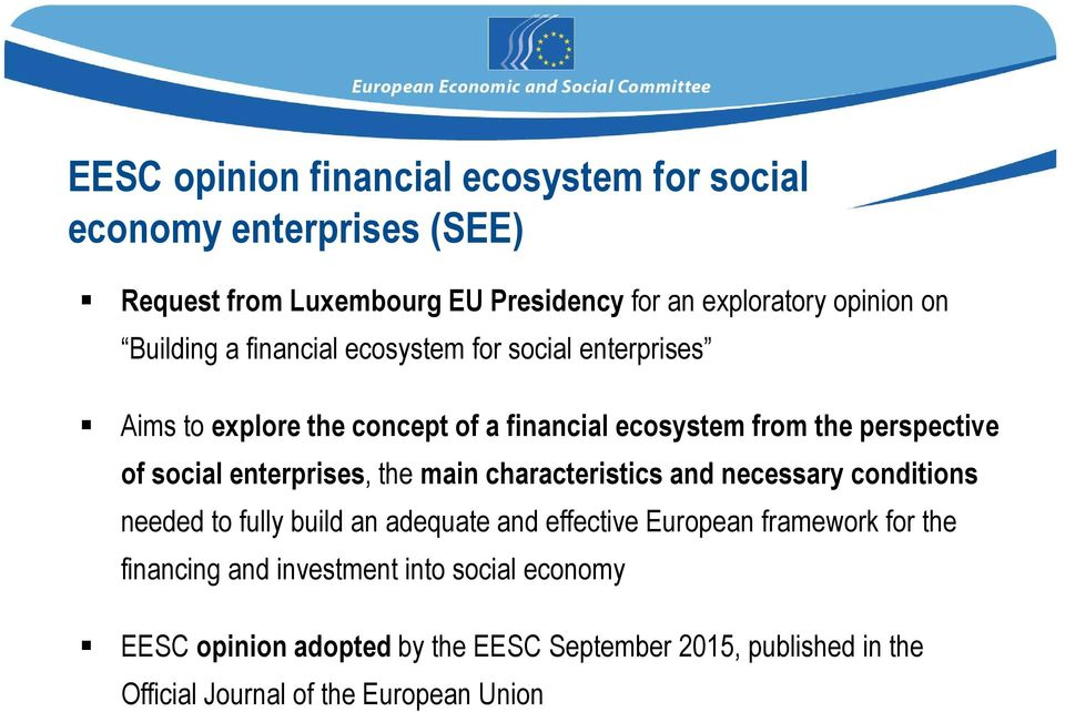 enterprises, the main characteristics and necessary conditions needed to fully build an adequate and effective European framework for the