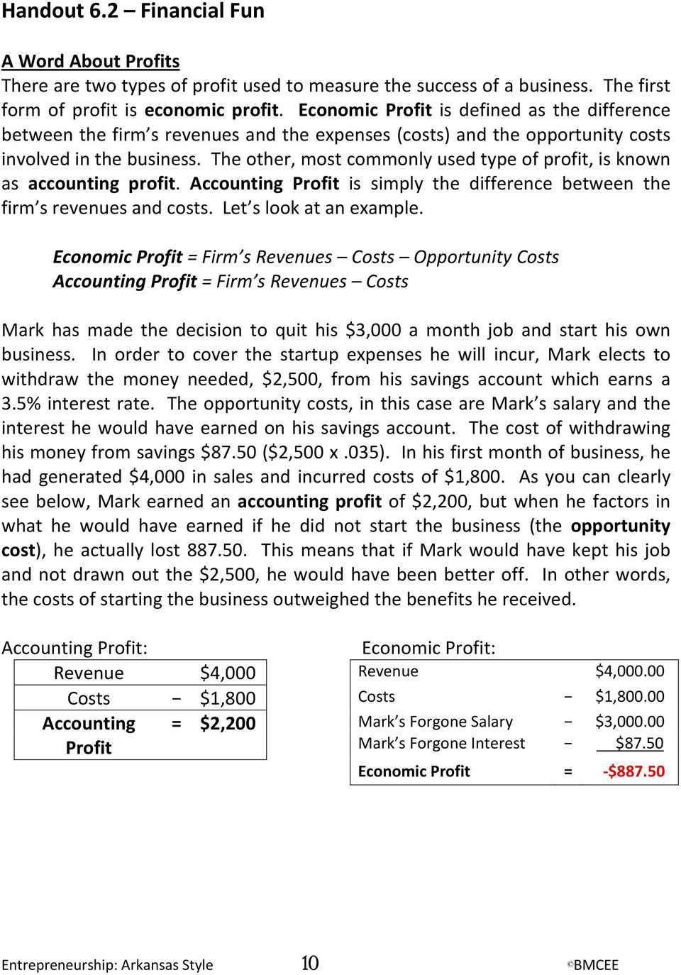 The other, most commonly used type of profit, is known as accounting profit. Accounting Profit is simply the difference between the firm s revenues and costs. Let s look at an example.