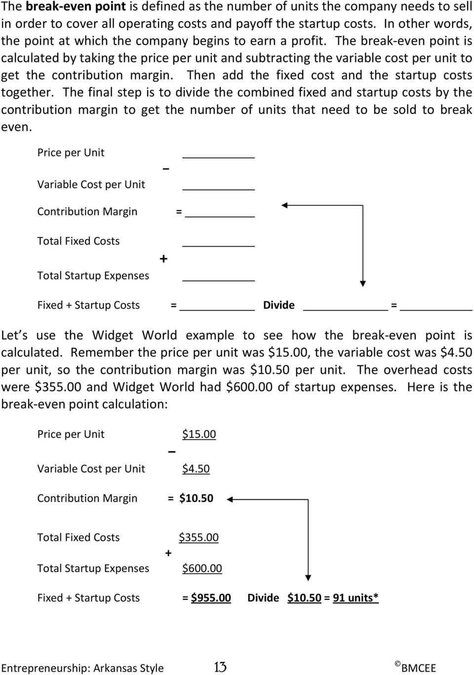 The break even point is calculated by taking the price per unit and subtracting the variable cost per unit to get the contribution margin. Then add the fixed cost and the startup costs together.