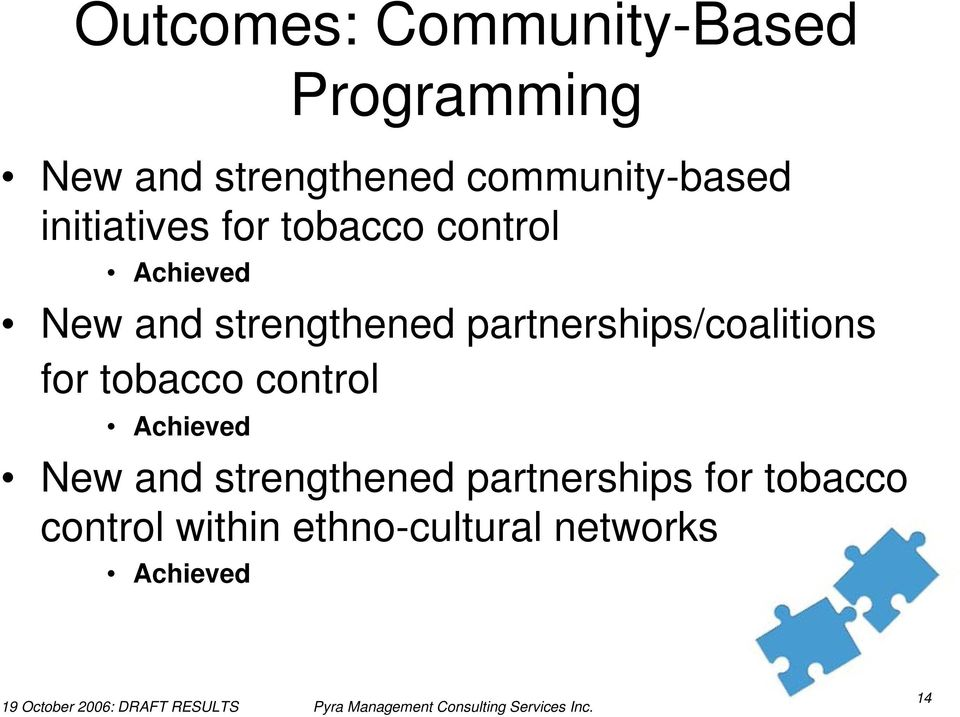 strengthened partnerships/coalitions for tobacco control Achieved New