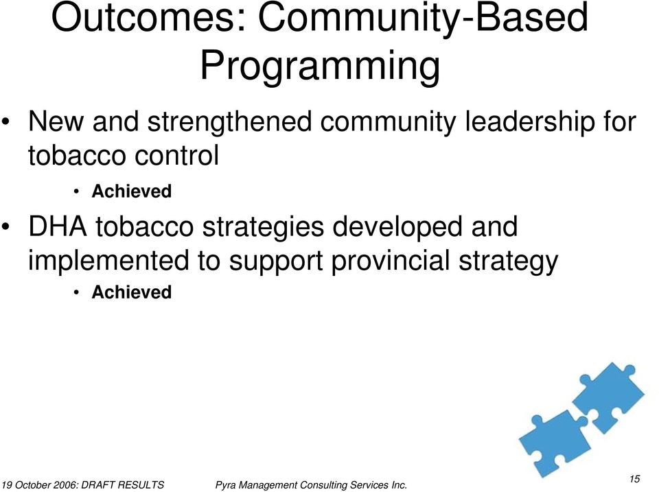 control Achieved DHA tobacco strategies developed