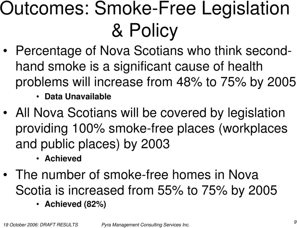 Scotians will be covered by legislation providing 100% smoke-free places (workplaces and public places)
