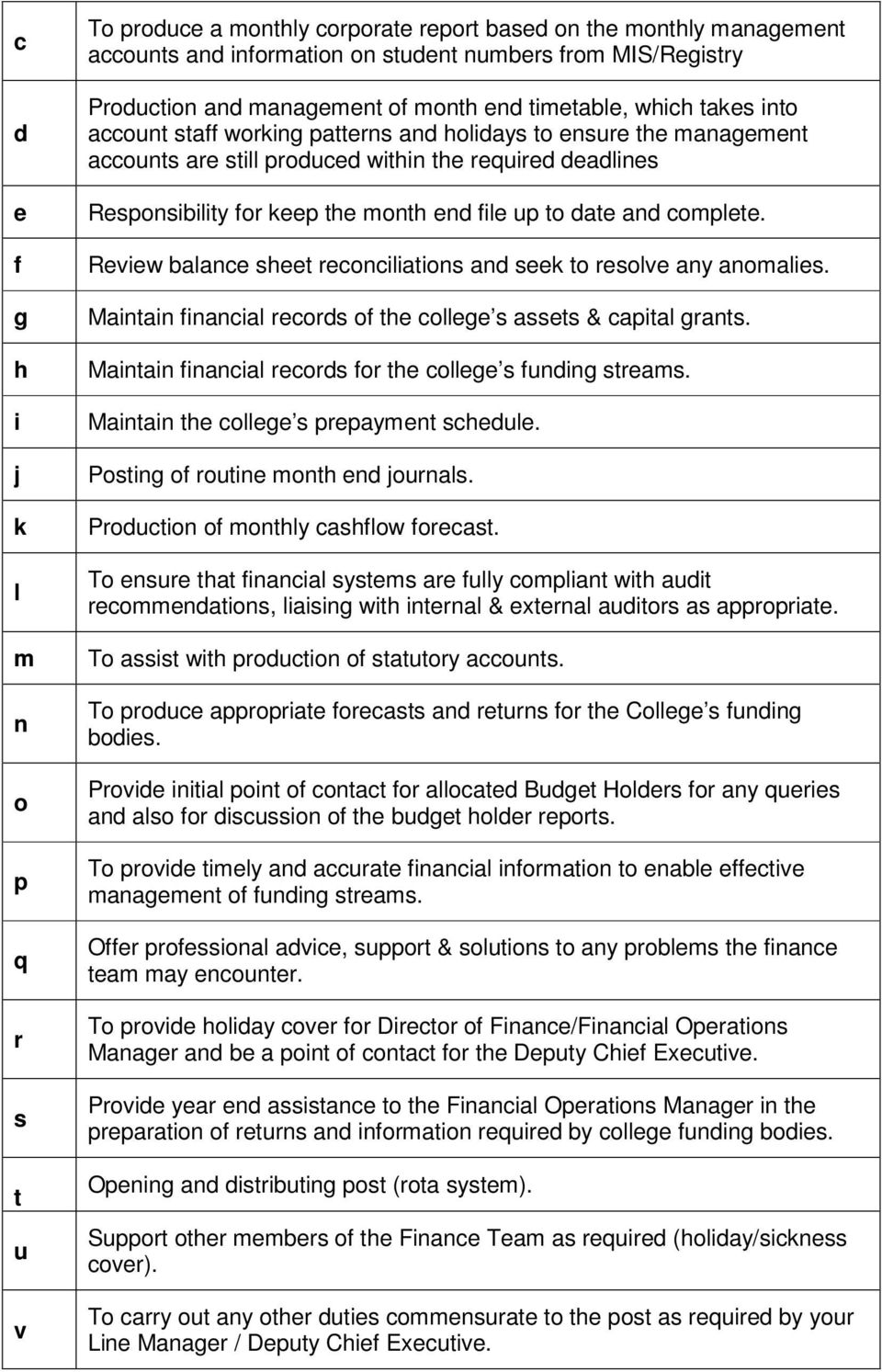 month end file up to date and complete. Review balance sheet reconciliations and seek to resolve any anomalies. Maintain financial records of the college s assets & capital grants.
