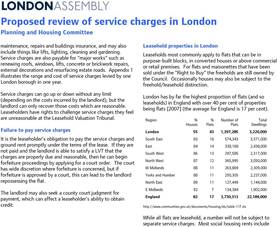 Appendix 1 illustrates the range and cost of service charges levied by one London borough in one year.
