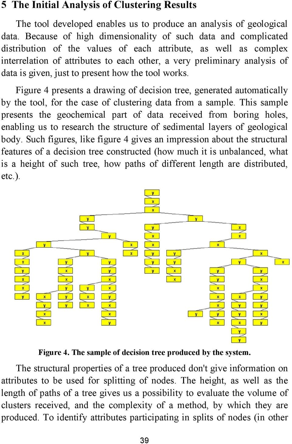 data is given, just to present how the tool works. Figure 4 presents a drawing of decision tree, generated automatically by the tool, for the case of clustering data from a sample.