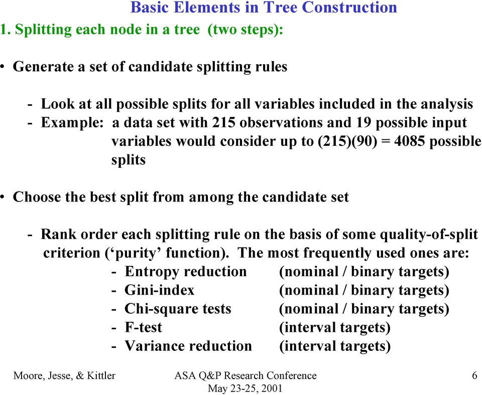 set with 215 observations and 19 possible input variables would consider up to (215)(90) = 4085 possible splits Choose the best split from among the candidate set - Rank order