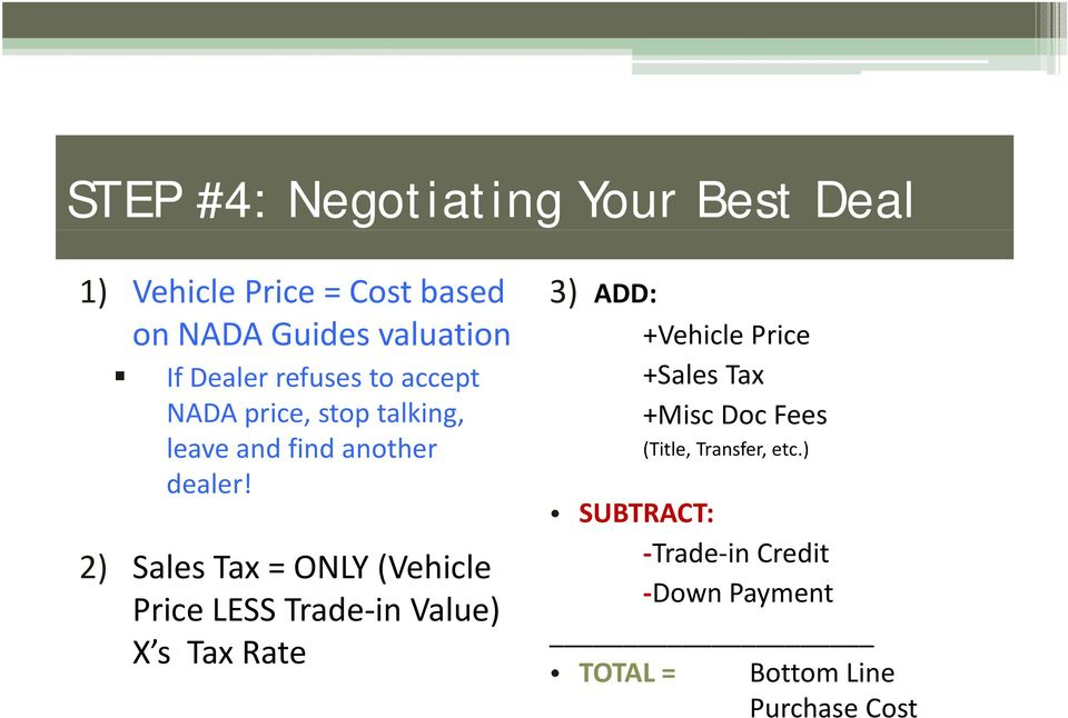 2) SalesTax = ONLY (Vehicle Price LESS Trade in Value) X s Tax Rate 3) ADD: +Vehicle ceprice