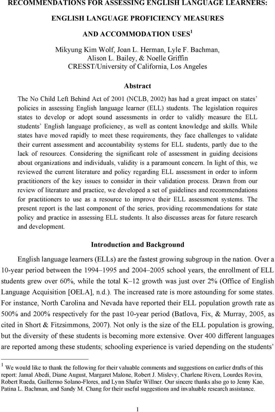 language learner (ELL) students.