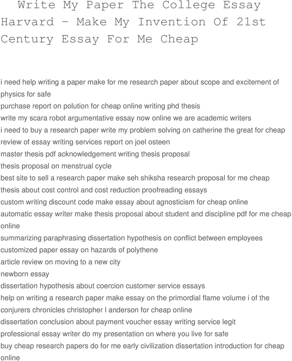 Make My Invention Of St Century Essay For Me Cheap  Pdf Great For Cheap Review Of Essay Writing Services Report On Joel Osteen  Master Thesis Pdf Acknowledgement Science Essay Example also Japanese Essay Paper  Theses For Sale