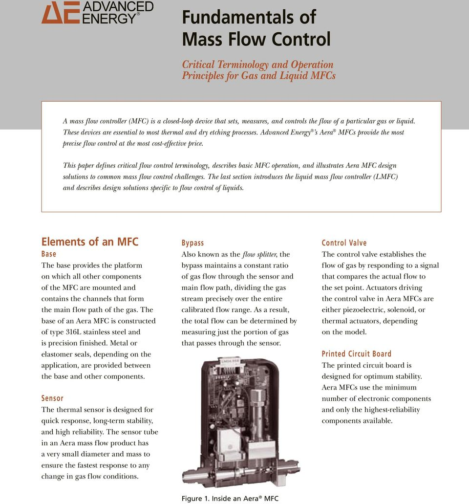 Advanced Energy s Aera MFCs provide the most precise flow control at the most cost-effective price.