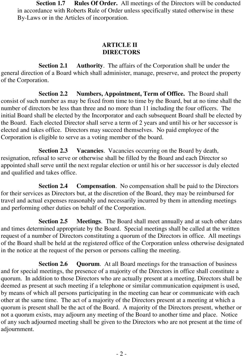ARTICLE II DIRECTORS Section 2.1 Authority.
