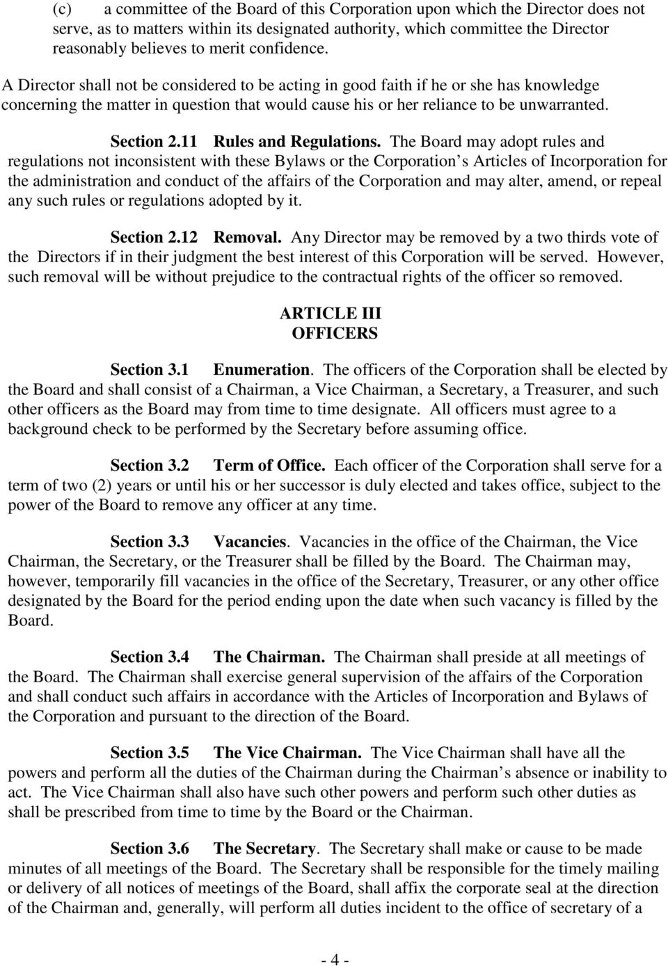 Section 2.11 Rules and Regulations.