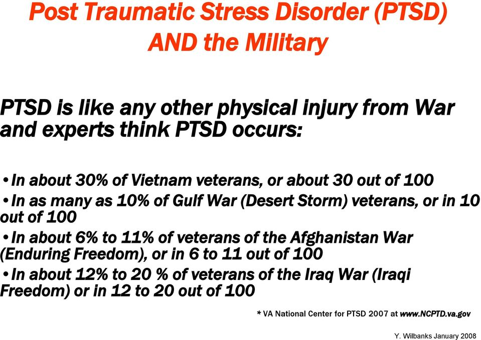 10 out of 100 In about 6% to 11% of veterans of the Afghanistan War (Enduring Freedom), or in 6 to 11 out of 100 In about 12%